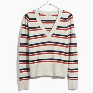 Madewell Striped Westgate V-Neck Sweater - M